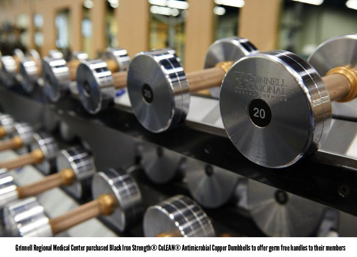 Black Iron Strength® Custom Dumbbells with Antimicrobial Copper given the user 24/7 protection from germs.