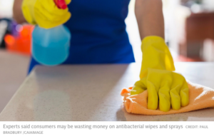 Wiping surface with antibacterial wipes