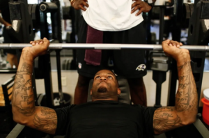 Baltimore Ravens Football Player training on Black Iron Strength® Thick Bar