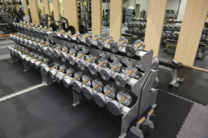 Row of dumbbells at Grinnell College