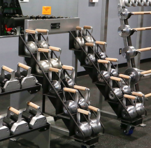 Black Iron Strength Kettlebells on Rack
